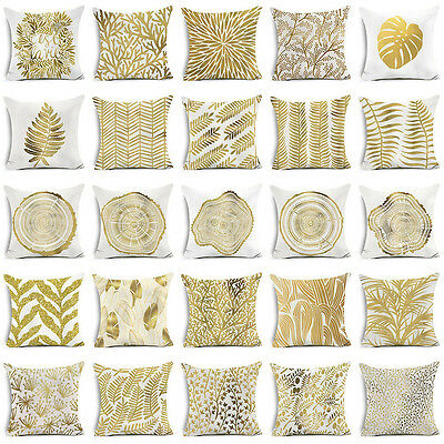 """18""""Gold Leaves Printed Polyester Sofa Pillow Case Waist Cushion Cover Home Decor"""