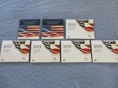 annual uncirculated dollar coin set 2007,2008,2012 thru 2016