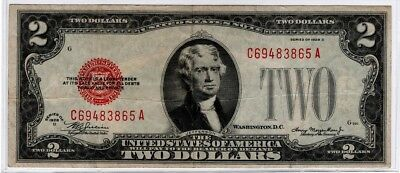 1928 Series $2 Two Dollar Red Seal Note Bill US Currency VG - F