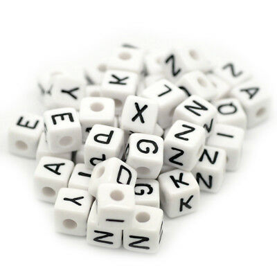 5X(100x Mixed Cubic Acrylic Letter/ Alphabet Beads 10x10mm U8Y5)