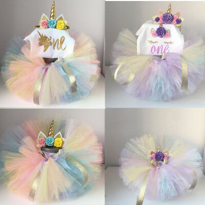 unicorn tutu dress baby girls 1st birthday rainbow party romper