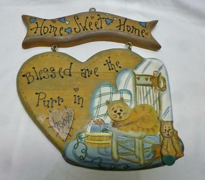 """Cute Wood Cat Plaque """"Home Sweet Home, Blessed Are The Purr In Heart""""."""