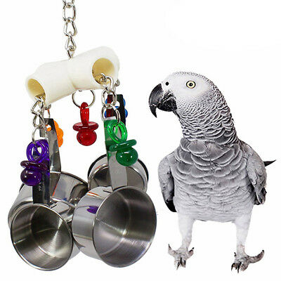 Bird Cage Toys Hanging Stainless Steel Cup Bell play for Parrots Cockatoo Conure