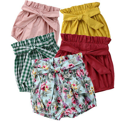 UK Baby Girls Cotton Bowknot Elastic Waist PP Pants Bloomers Shorts Nappy Cover