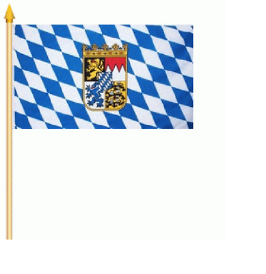 Bayern Wappen 30x45 cm mit Holzstock Stockflagge  Fahne Flagge Schwenkfahne