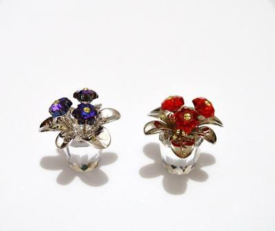 2776a92b1 Swarovski Crystal Flowers In Pots Red & Blue Primula 719984 & 718985~ Excellent