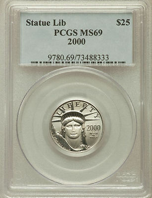 2000 PLATINUM EAGLE PCGS MS69 $25 * onlly 9 higher grade * STATUE OF LIBERTY