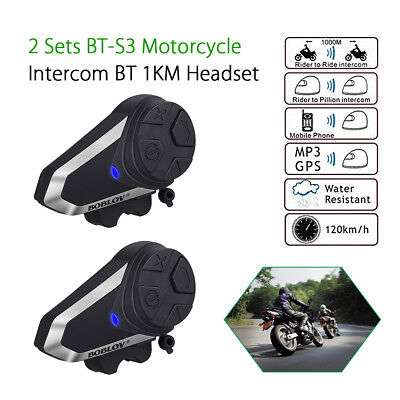 2x Bluetooth 1000M BT-S3 Intercom Interphone Motorcycle Headset FM+Earpieces
