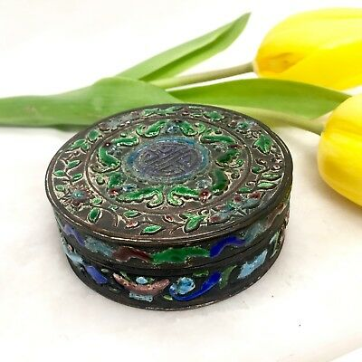 Late 19th-Early 20th Century Antique Chinese Repousse Enamel Cloisonne Opium Box