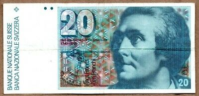 Switzerland VF Note 20 Francs 1982 P-55d