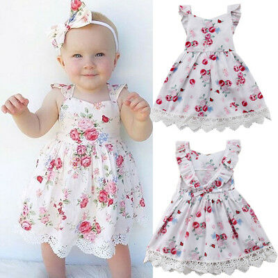 Infant Baby Kid Girl Summer Lace Dress Party Wedding Pageant Princess Dresses AU