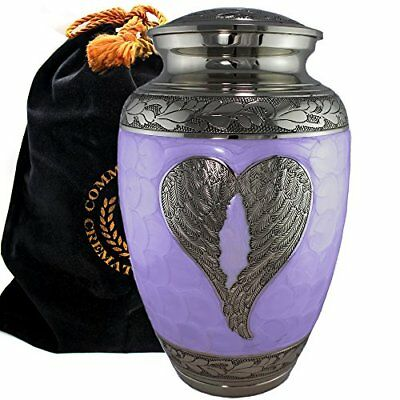Large Cremation Urn for Human Adult Funeral Ashes Brass Metal & Velvet Box