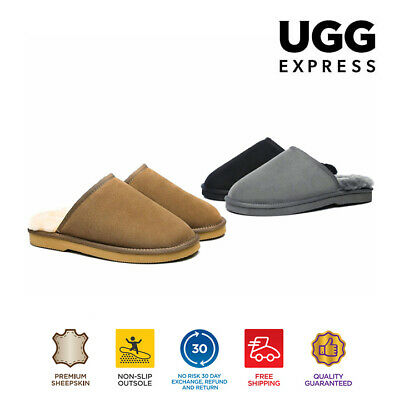 EVER UGG Mens Scuffs Slippers Premium Australian Fine Wool Sheepskin