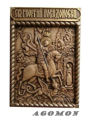 Wooden carved orthodox icon of St. George the Victorious, a memorable gift