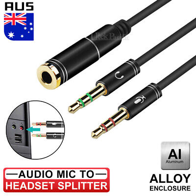 3.5mm AUX Cable Audio MIC Splitter Headphone Earphone Adapter Male  to Female