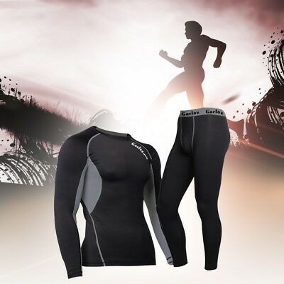 Mens Longsleeve Compression Shirt Baselayer Skin Pants Bottoms Joggers Fitness