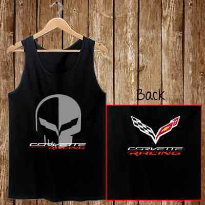 Chevrolet Corvette Racing Jake Skull Mens Tank Top Black