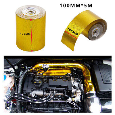 100mm * 5m Roll Adhesive Reflective Gold High Temperature Heat Shield Wrap Tape