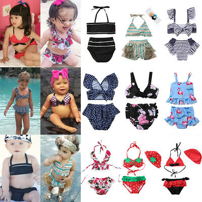 US Stock Baby Girl Floral 2PcsBikini Set Swimwear Swimsuit Bathing Suit Costume