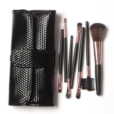 Professional Make Up Brushes Set Cosmetic Tools With Black Leather Case 7 Pcs