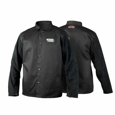 Lincoln BLACK LEATHER SLEEVED WELDING JACKET Flame Retardant- Size L, XL Or 2XL