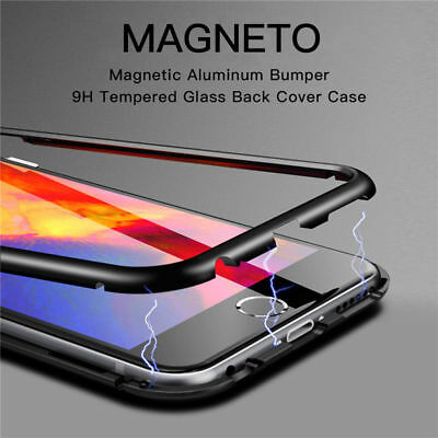 Phone Case Magnetic Metal Frame Tempered Glass Case Cover fr iPhone 7 8 X XS Max