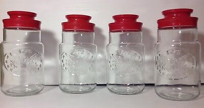 4 Vintage Maxwell House Coffee Glass Jar / Canister RED LID EAGLE  1776