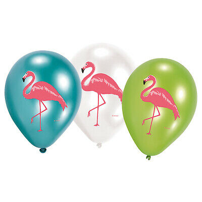 6 Luftballons Flamingo Paradise Hawaii Party Sommer Deko Dekoration auflasbar