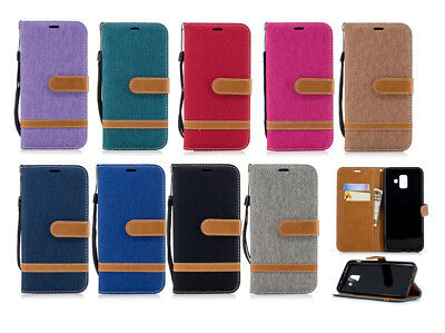 Canvas Denim Card Pockets PU Leather Flip Case Cover Stand For 2018 Cell Phones