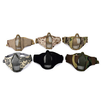 Airsoft Mask Half Face Metal Steel Net Mesh Mask Hunting Tactical Protective TH