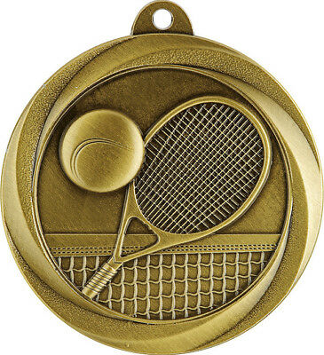 Tennis Gold Medal Trophy Award 50mm FREE Engraving & Neck Ribbon