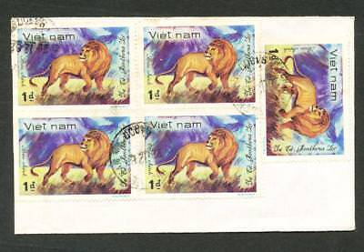 VIETNAM 1d Lion x Block 4 block x 2 + 1 single Cover Postmark Chau Phu SG 442