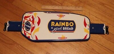 "VINTAGE Original RAINBO BREAD PORCELAIN ENAMEL DOOR 25"" Come Again Two Sided"