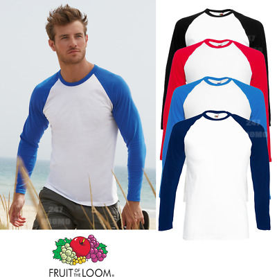 Fruit Of The Loom MEN'S T-SHIRT CONTRAST LONG SLEEVE NECK BASEBALL SPORT COTTON