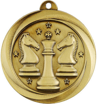 Chess Econo Series Gold Medal Trophy 50mm FREE Engraving & Neck Ribbon