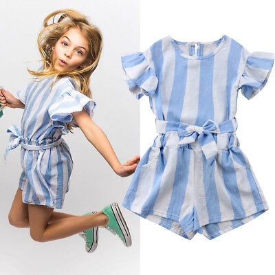 US Toddler Baby Kid Girls Stripe Fly Sleeves Top+Shorts Pants Outfit Clothes Set