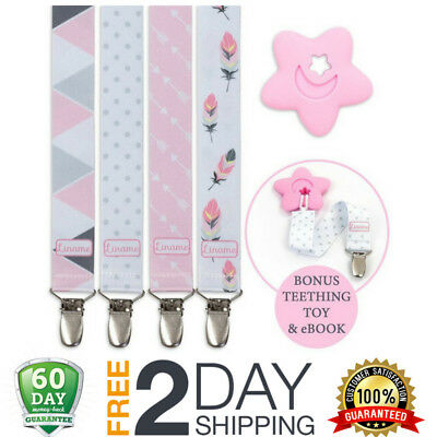4-Pack Personalized Binky Holder Pacifier Clip For Girls Teething Toys Universal