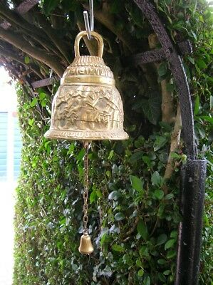Antique Cast BRASS BELL Heavy 5in Dia Vintage Door Donger Chain Egyptian Pattern