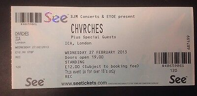CHVRCHES Early London Concert Ticket from February 2013