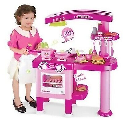 69 PC Large Children Kids Kitchen Cooking Role Play Pretend Toy Cooker Pink