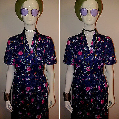 Vintage 1970's Navy Floral Day Dress by Nicole Lewis.Size 12.