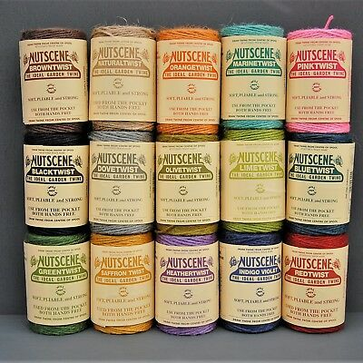 NUTSCENE SPOOL OF TWINE 110m Coloured Jute String 3-Ply Thick, Craft Gift Garden