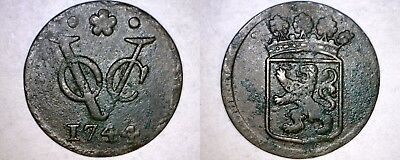 1744 Netherlands East Indies (Holland Arms) 1 Duit World Coin