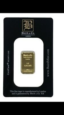 Baird And Co 2.5g Gram Minted Gold Bullion Bar Pure Find 9999 Not scrap