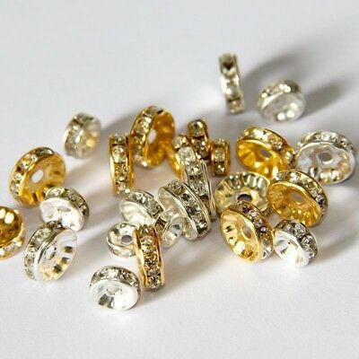 100pcs Czech Crystal Rhinestone Glass Charms Rondelle Loose Spacer Beads 6~10mm