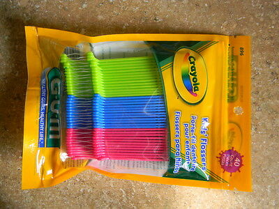 2 GUM Crayola Dental Flossers For Kids, Resealable Bag, 40 ct ea (2 Packs)