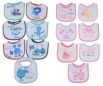 Baby Girl Boy Bibs 7 PACK Days of the Week