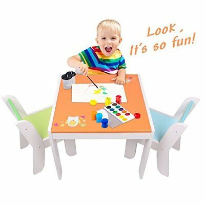 Children Table And Chairs Set Kids Toddlers Activity Wooden Furniture Orange Owl