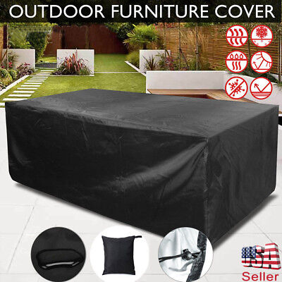 Waterproof Garden Outdoor Rectangle Table Cover Patio Protection Furniture Black