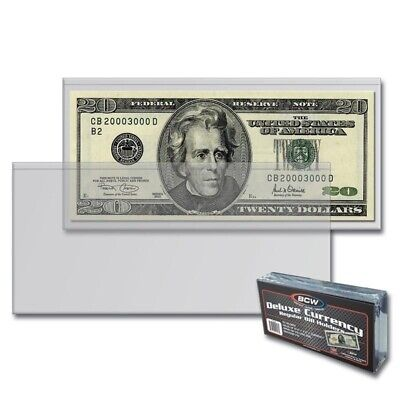 Case of 1000 BCW Deluxe Semi Rigid Regular Modern US Currency Bill Holders